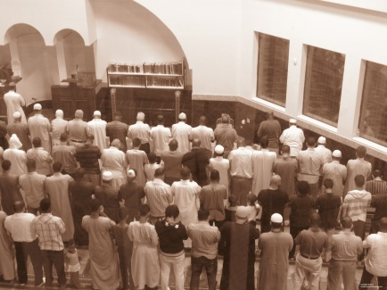 Prayer in Islam is not only spiritual, but it is also physical. It requires motions of standing, sitting, and bending - built in exercise for Muslims five times per day at the least. In addition, it requires thoughtful concentration and devoted reflection. Muslims follow the instructions of the Imam in harmony, as he recites from the Qur'an.