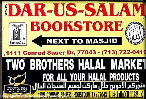 Not only is there a book store located adjacent to this mosque, but there is also a halal meat market in close proximity.